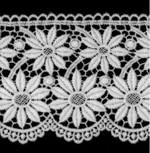 ケミカルレース生地 花 モチーフ オフホワイト 切り売り綿糸 オフ白 約90mm幅国内生産なので安心ベビー、子供服、婦人衣料、手芸ブライダル、インテリア、和装小物、御朱印帳にも