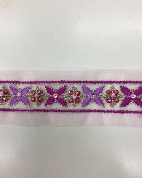 ≪10センチから販売いたします≫フランス製リボン 切り売りピンク 約45mm幅婦人衣料、手芸、ブライダル、インテリアに最適カワイイ刺繍リボンです表示価格は10センチの値段(税込み)です