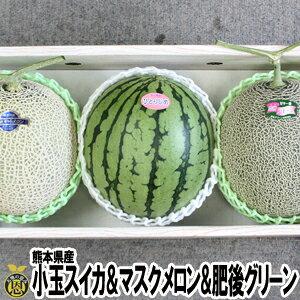 小玉スイカ・マスクメロン・肥後グリーンメロン 詰め合わせ【送料無料】