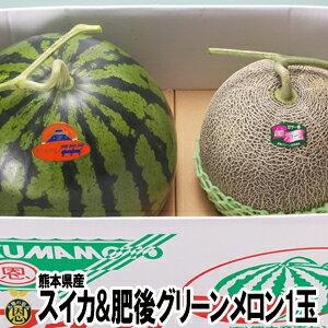 スイカ・肥後グリーンメロン詰合せ【送料無料】熊本県産 西瓜 高級メロン ギフト