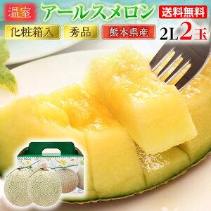 母の日 ギフト アールスメロン 秀品 2L/2玉 熊本県産 温室 送料無料 高級メロン 甘い フルーツの里 産地直送 S常