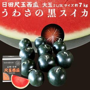 お中元 果物 フルーツ ギフト スイカ うわさの黒スイカ 1玉 7kg 種無し 日田産 すいか 秀品 2L/3Lサイズ 贈答