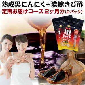 【定期購入】送料無料 熟成黒にんにく+濃縮きび酢 2パック メール便