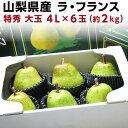 御歳暮 ギフト 送料無料 ラフランス 山形 特秀 山形県東根 ジュースのような果汁 洋梨 大玉 4L×6玉(約2kg) ラ・フランス フルーツ 果物 贈答 お誕生日