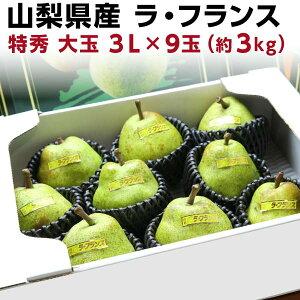 ギフト 送料無料 ギフト ラフランス 山形 特秀 送料無料 山形県東根 ジュースのような果汁 洋梨 大玉 3L×9玉(約3kg) ラ・フランス フルーツ 果物 贈答 お誕生日