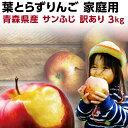 りんご 青森 葉とらず サンふじ ご家庭用 3kg(8〜14玉) ちょっぴり 訳あり 送料無料 産直 世界が認めたリンゴ