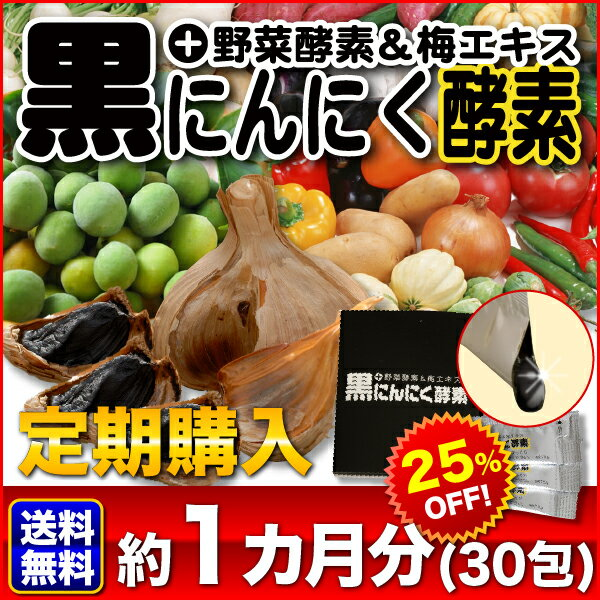 【定期購入】送料無料!【黒にんにく酵素+野菜酵素&梅エキス×30包】