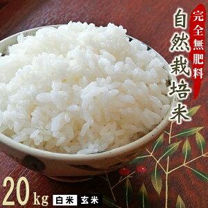 完全無肥料 自然栽培米 令和2年産 ヒノヒカリ 20kg 【農薬・化学肥料不使用】【熊本県産 自社農園産 白米 玄米 放射能検査済み】