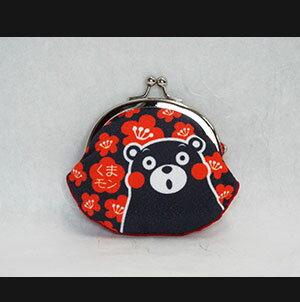 【送料無料】くまモン和柄がまぐち 赤黒 日本製 サイズH8cm×W9cm クリックポスト便商品