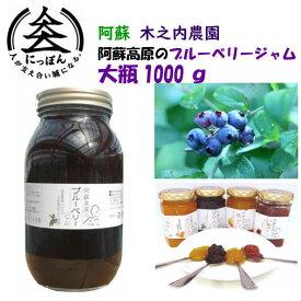 九州熊本の逸品 阿蘇木之内農園 阿蘇高原ブルーベリージャム1000g 熊本県山都町および国産ブルーベリー使用 ※人気商品の為発送まで1週間以上かかる可能性がございます。国産はちみつ使用・ハチミツ・蜂蜜・果実ぎっしり・熊本・お土産・ご当地・毎朝ヨーグルトと共に