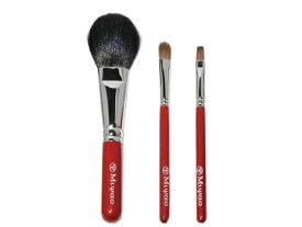 【送料無料】 熊野化粧筆 メイクブラシ 3本セット <レッドパール> [ショート軸タイプ] 熊野筆 【包装 無料・ 名入れ 可】 チークブラシ リップブラシ シャドウブラシ 化粧筆 内祝い ギフト セット 名入れ