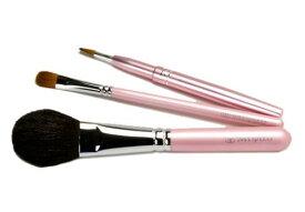 【送料無料】熊野化粧筆 メイクブラシ 3本セット<可愛いピンクパール>[ミドル軸タイプ]熊野筆【包装 無料・名入れ 可】化粧筆 プレゼントチークブラシ シャドウブラシ リップブラシ