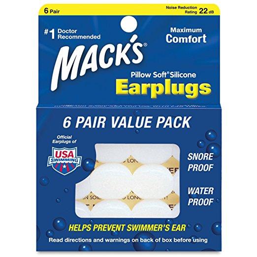 シリコン耳栓 Macks Pillow Soft マックスピローソフト【超お得】 6ペア12個セット【メール便のみ送料無料 】仕事、睡眠、安眠確保、勉強、いびき対策、生活騒音、飛行機での不快感、お風呂、プール、サーフィン、水遊びでの水の浸入を防ぎ耳を守る