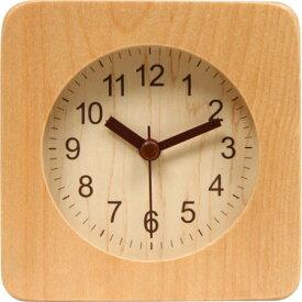【送料無料!】不二貿易 アラームクロック スクエア ウッド 置き時計 幅10.2cm ナチュラルお部屋に一つ欲しいアイテム