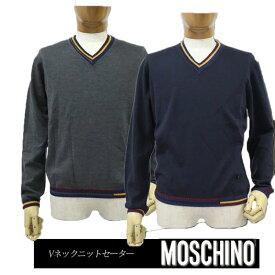 【送料無料】 MOSCHINO モスキーノ メンズ 長そでニット セーター Vネック ネイビー(紺)/グレー SIZE:44/46/48 (mos_m241201)
