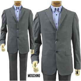 【送料無料】 MOSCHINO モスキーノ メンズ シングルスーツ 2ボタン ノータック グレー SIZE:46/48/50(mos_m241203g)