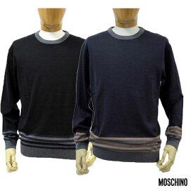 【送料無料】 MOSCHINO モスキーノ メンズ 長そで ニット クルーネック セーターネイビー(紺)/ブラック(黒) SIZE:46/48/50 (mos_m241204)