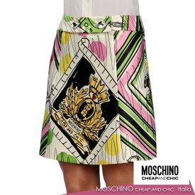 【送料無料】 MOSCHINO CHEAP AND CHIC モスキーノチープアンドシック スカート ミニスカート プリント ホワイト SIZE:38(7号)/40(7〜9号) (mos_261222)