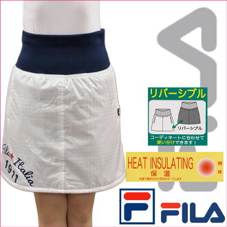 Filagolf FILA GOLF ladies skirt mini skirt reversible cotton organiccotton houndstooth check lining brushed warm white (white) SIZE: M / L(fila_w16aw05)