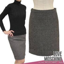 【送料無料】LOVE MOSCHINO ラブ モスキーノ スカート タイトスカート ドット 水玉 ブラック(黒)×ホワイト(白) SIZE:38(7〜9号) (mos_291206c)