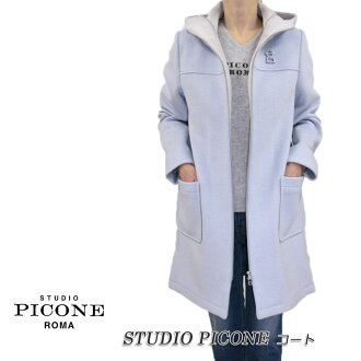 A river-like long sleeve blue size with the ピッコーネスタジオピッコーネ STUDIO PICONE Lady's coat hooded zip up food made by: 40 (L/11) (pico_w18aw86s)