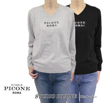ピッコーネスタジオピッコーネ STUDIO PICONE Lady's knit sweater cashmere V neck pullover long sleeve gray / black (black) size: 38 (M/9) /40(L/11) (pico_w18aw87s)