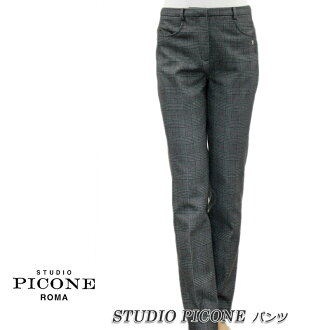 ピッコーネスタジオピッコーネ STUDIO PICONE Lady's underwear long underwear check glen check down thermal insulation stretch gray size: 38 (M/9) /40(L/11) (pico_w18aw89s)