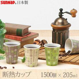 【送料無料】ストロングカップ・ホールマークカフェ 205ML 1500個 7オンス 3色 [サンナップ]日本製【ポイント20倍】【e暮らしR】