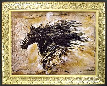 【代引不可・送料無料】「ブラック ビューティー」ゴットフライド マルタ 馬・特殊ゲル加工アート[絵画通販]馬の絵 ウマ 絵画 絵【壁掛けフック付き】【絵のある暮らし】