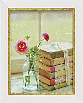 「ブルーミング ブック」マンディー リン【通信販売】(花・ミニゲルアートポスター[絵画通販]【壁掛けフック付き】【絵のある暮らし】