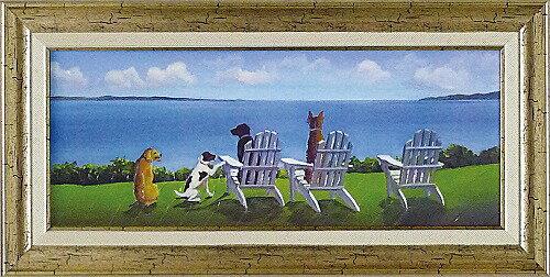 「パプス ウィズ ア ビュー」キャロル サクス 特殊ゲル加工アート[絵画通販・犬]海 ビーチ 絵 いぬ 犬 イヌ アート【壁掛けフック付き】【絵のある暮らし】