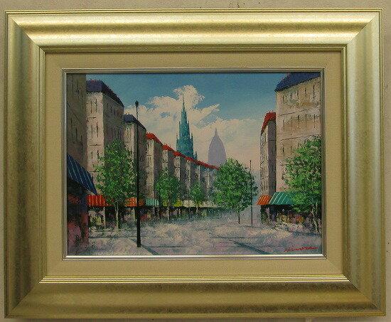 「パリの街角」広瀬和之【送料無料/通信販売】(F4サイズ油彩画[油絵]・外国風景画・フランス(パリ)[絵画通販]【壁掛けフック付き】【絵のある暮らし】