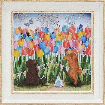「スプリングフィーバー」なかのまりの 特殊ゲル加工アート・犬・イヌ・トイプードル[絵画通販]花 絵 絵画 【壁掛けフック付き】【絵のある暮らし】