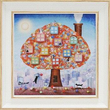 「都会の片隅で」なかのまりの 特殊ゲル加工アート・ネコ・ねこ・猫[絵画通販]【壁掛けフック付き】【絵のある暮らし】