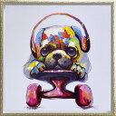 【送料無料】「スケボードッグ」Mサイズ オイルペイントモダンアート・イヌ・いぬ・犬・スケボー・油絵・ハンドメイド・動物・[絵画通…
