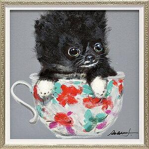 「ティーカップドッグ2」Sサイズ オイルペイントモダンアート[絵画通販]犬・イヌ・いぬ・動物・油絵・絵・ハンドメイド・油絵【絵のある暮らし】【壁掛けフック付き】