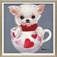 「ティーカップドッグ4」Sサイズオイルペイントモダンアート[絵画通販]犬・イヌ