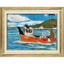 「犬と釣り人と小さな船」サムトフト・可愛い雰囲気の特殊ゲル加工アート[絵画通販]【壁掛けフック付き】【絵のある暮らし】