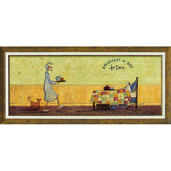 【送料無料】「ドリスとベッドで朝食」サムトフト・可愛い雰囲気の特殊ゲル加工アート[絵画通販]【壁掛けフック付き】【絵のある暮らし】