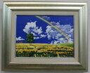 「幸せの丘」里中游 F4サイズ油彩画[油絵]ヒーリングアート・開運風水画・花風水・虹・虹風景【壁掛けフック付き】【絵のある暮らし】
