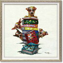 「ドッグオンブックス」Sサイズ オイルペイントモダンアート[絵画通販]犬・イヌ・いぬ・油絵・絵・ハンドメイド・動物【絵のある暮ら…