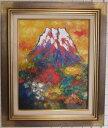 「富士山」〜赤富士〜土屋茂(F6サイズ油彩画[油絵]・開運風水画・赤富士縁起画・ゴールド額[絵画通販])(富士山)【…