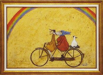 【送料無料】「虹に向かって」サムトフト☆楽天ランキング1位獲得作品☆可愛い雰囲気の特殊ゲル加工アート・犬・イヌ・いぬ[絵画通販]【壁掛けフック付き】【絵のある暮らし】