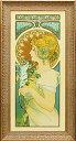 【送料無料】 「羽根」アルフォンス・ミュシャ(世界の名画・アルフォンス・ミュシャ・特殊ゲル加工アート[絵画通販])【壁掛けフック…