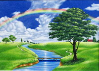 【送料無料】「小川のある丘」里中游楽天ランキング1位獲得作品(F6サイズ油彩画[油絵]ヒーリングアート・開運風水画・花風水・虹・虹風景[絵画通販])
