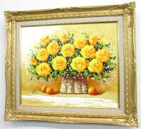 「黄色い薔薇」SOO楽天ランキング1位獲得作品【送料無料/通信販売】(F8サイズ油彩画[油絵](直筆油彩画)・開運風水画・静物画・花風水[絵画通販])【壁掛けフック付き】【絵のある暮らし】