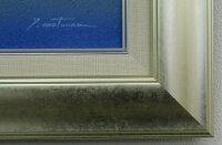 「水辺の城」松浦敬文☆楽天ランキング1位獲得作品☆(F6サイズ油彩画[油絵](直筆油彩画)・開運風水画・九頭馬縁起画・シルバー額[絵画通販])【絵のある暮らし】【壁掛けフック付き】