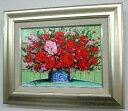 【送料無料】「はな」(赤とピンクのはな)柿田治 楽天ランキング1位獲得作品(F4サイズ油彩画[油絵](直筆油彩画)花風水・開運風水…