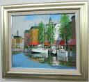 楽天ランキング1位獲得作品「運河のある街」黒沢久【送料無料/通信販売】(F8サイズ油彩画[油絵]・外国風景画(ヨーロッパ・アムステル…