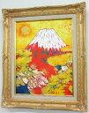 「黄金富士」並木修一郎(F6サイズ油彩画[油絵]・開運風水画・赤富士縁起画・ゴールド額[絵画通販])(富士山)【壁掛けフック付き】【…